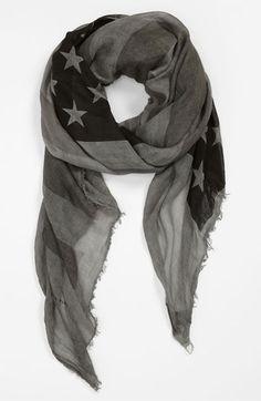 John Varvatos Collection Flag Print Scarf gray
