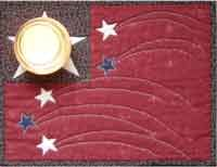 """A Hero's Light by Nestlings by Robin at KayeWood.com. 12"""" x 9"""", Fusible Applique. This quick and easy fused candle mat will light up your table or add to your patriotic decor. http://www.kayewood.com/item/A_Hero_s_Light/1956 $6.00"""