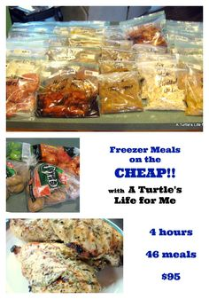 "This lady is a genius!!! WOW! 4 hours, 46 meals, 95 dollars. Another pinner said, ""I started doing this earlier this year and cannot believe how much stress it has eliminated and how much better we are eating while saving money."""