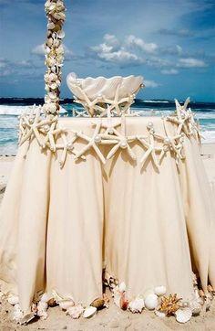 Beach wedding decor for cocktail tables.