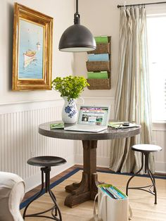 I'm a big fan of the industrial pedestal table and gold-framed boats | via BHG.com