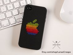 Classic Apple Logo Cross Stitch Case for iPhone 4 and iPhone 4S. $25.00, via Etsy.