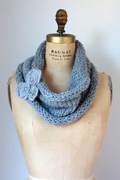 Gray Chunky Knit Cowl with Fabric Flower by TwoElephantsShop,