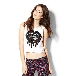 """""""Let's Make Out"""" Cropped Muscle Tank."""