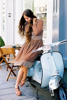 polka dots, vespas, dresses, scooters, the dress, motorcycle girls, dress shoes, hair, baby blues