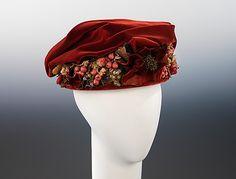 Beautiful crimson silk hat, 1915, American. #vintage #Edwardian #hats