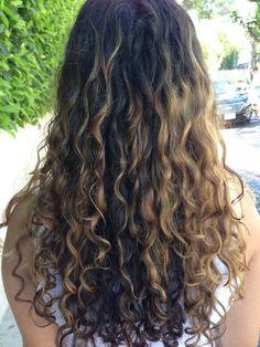 curly hair highlights from devachan salon in la