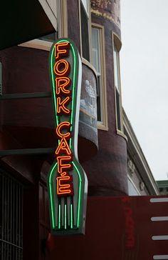 """""""Fork Cafe"""" San Francisco Neon Sign"""
