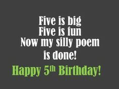 card idea, card quot, birthdays, 5th birthday, silli 5th, birthday messag, acrost 5th, homemad card, birthday poem