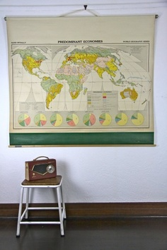 Vintage school classroom rand mcnally pull down wall map the world geography