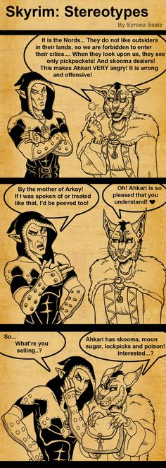 Skyrim Stereotypes by *SlayerSyrena on deviantART