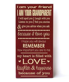 This Red & Cream 'I Am Your Grandparent' Plaque is perfect! #zulilyfinds #nana #papa #grandchildren #cousins #friends #family #canvas #font