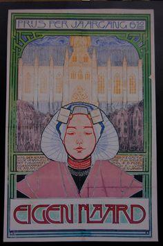 Affiche Eigen Haard WOJ Nieuwenkamp 1896 dutch folklor, dutch postersadv, nederlands vintag, holland poster, art nouveau