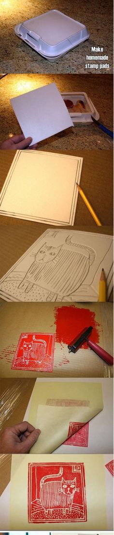 DIY Stamps, cheaper than lino blocks and safer for younger kids