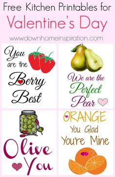 Free Kitchen Printables for Valentine's Day - Down Home Inspiration