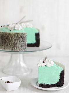 mint white chocolate mousse cake.
