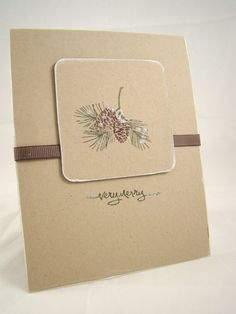 handmade card ... Autumn days ... monochromatic kraft ... like the white sponged edge on the small focal panel ...