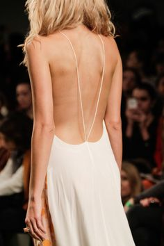 backless wedding dressses, fashion weeks, runway fashion, backless dresses, numbers, minimal style, white, beach styles, fashion women