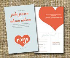 modern wedding invitation with perforated rsvp postcard - big love.