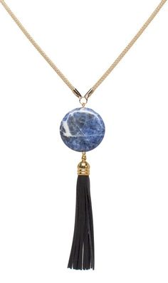 I love how the blue marble and black tassle really brings together this Blue Moon Pendant.