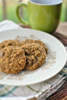 Pumpkin Oatmeal Chocolate Chip Cookies  www.SimplyScratch.com