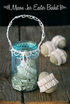 Mason Jar Easter Basket: Turn a vintage mason jar into a basket trimmed with lace.