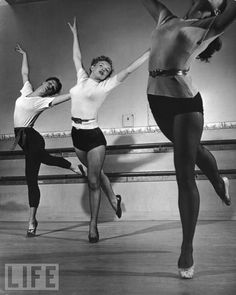 Monroe In Dance Class  Feb. 11, 1949: A young Marilyn, still trying to make a name for herself, practices steps with two other women during a dance class in California.