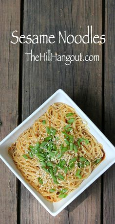 Sesame Noodles from TheHillHangout.com are a quick, simple dish. Serve them as a side or a main dish. Serve them hot or cold. Serve them as-is or add chicken, shrimp, steak, or veggies.