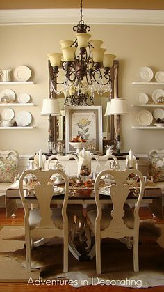 I really think I want to try painting dining room furniture like this