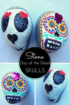 Painted stone day of the dead skulls