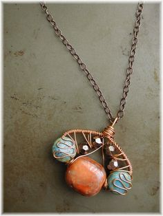 Wire Wrapped Ceramic and Glass Bead Pendant
