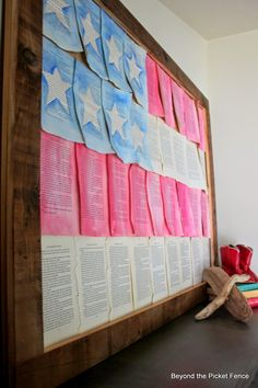 old book pages, flag, summer mantel, old books