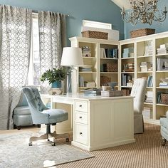 blue, gray and cream home office
