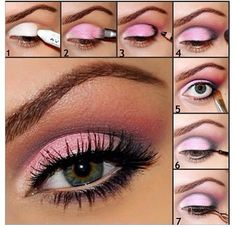 This one is kind of neat because it's pink! Pink smokey eye for green eyes.