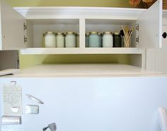 Store your leftover paint in mason jars above the fridge in that weird space where you can't reach anything :)