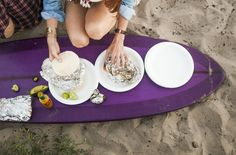 lobster cevich, beach bonfire ideas, taco buffet, taco party, surfboard