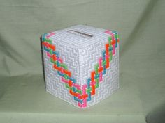 plastic canvas tissue holders | Handmade Geometric Tissue Box Cover Plastic by midnightcrafters