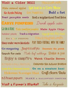 Free printable list of activities for fall -- use it as a bucket list or frame as artwork! #autumn #freebie