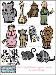 Good Night Gorilla inspired bundle by melonheadzdoodles on Etsy, $7.00