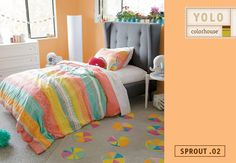 Like a slice of summer cantaloupe, Sprout .02 adds a simple sweetness to any room. Pair with Land of Nod's Sundae Best bedding and a Pinwheel Rug for a yummy combination!
