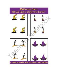 FREE Halloween Hats Which One is Different Cards from PreschoolPowolPackets on TeachersNotebook.com -  (5 pages)  - Fun, festive Halloween Hats for your preschoolers!  Which one is different?  #preschool #Halloween #Montessori