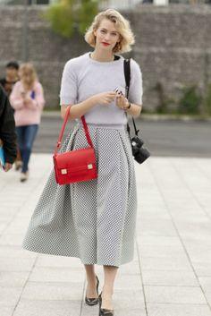 7 ways to wear your midi skirt midi skirts, paris inspired fashion, paris fashion, full skirts, street style, fashion week, pari fashion, smart casual skirt, skirts for 2014