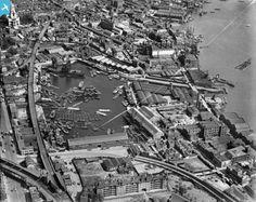 """Caption: """"Regents Canal Dock, Limehouse, 1928"""" #Regents #Canal # London #Boat #lighter #barge #dock #east #limehouse #docklands #historic"""