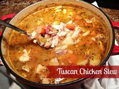 Tuscan Chicken Stew! A hearty country Italian chicken stew with white beans and red potatoes (awesome reviews on this!)