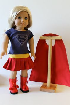 4 Piece Supergirl Costume with Cape and Boots by Orange Dot Designs - made with Liberty Jane Tee and Pleated Skirt patterns.