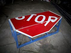 STOP sign Bench / Side Table by CollectiveRevolution on Etsy, $103.00