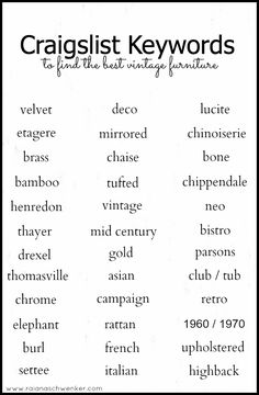 Keywords to find the best vintage furniture on Craigslist. Good for all the DIYers out there!