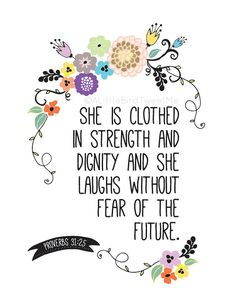 Scripture Art Print. She is Clothed in Strength Print. Floral Theme. Proverbs 31:25. Scripture Gifts. 8.5 x 11 on Etsy, $7.00