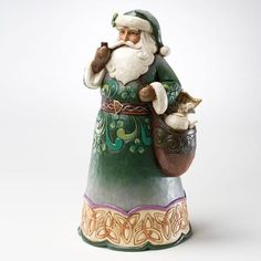 Irish Santa irish santa, shore collect, holiday christma, jim shore christmas, irish christma, irish traditionsgreen, santa figurin, kris kringl, green irish