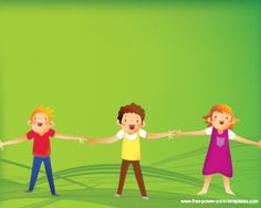 Free children education PowerPoint template background with kids playing and taking their hands